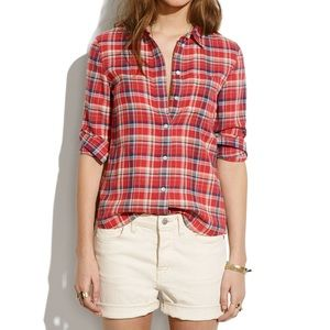 Madewell Red and Blue Plaid Button Down Shirt